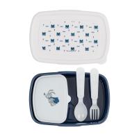 Bloomingville Lunch Box mit Besteck, Blau