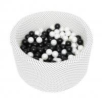 MISIOO Bällebad, 90x40 cm, Dots Black, inkl. 200 Bälle (weiss/grau)