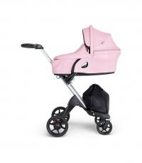 STOKKE Xplory V6 Gestell Silber/Schwarz inkl Babywanne, Lotus Pink 2019