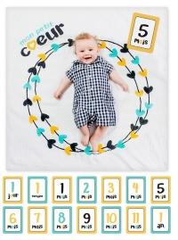 lulujo Babys First Year Swaddle-Blanket & Karten Set, Mon petit Coeur
