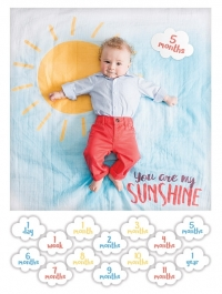 lulujo Babys First Year Swaddle-Blanket & Karten Set, You Are My Sunshine