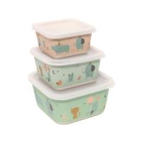 Petit Monkey Set 3 Lunch Boxen, Rhino & Friends