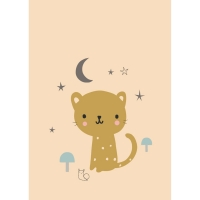 Petit Monkey Poster, Leopard Peach