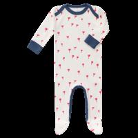 Fresk Babypyjama Bio-Baumwolle, mit Füsschen, Tulip Rot