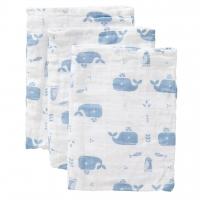 Fresk Waschhandschuhe, 3er Pack - Walfische blau