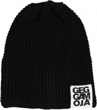 Geggamoja gestrickte Mütze Beanie, schwarz