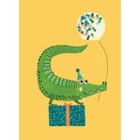 Geburtstagskarte Party Krokodil