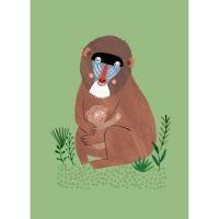 Geburtstagskarte Affe mit Jungen