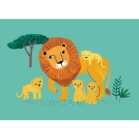Geburtstagskarte Löwe mit Jungen