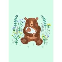 Geburtstagskarte Baby Bär mint