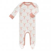 Fresk Babypyjama Bio-Baumwolle, mit Füsschen, Lobster coral pink