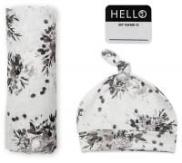 Lulujo Set aus Mütze, Swaddle, Fotosticker - Black Floral
