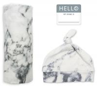 Lulujo Set aus Mütze, Swaddle, Fotosticker - Marble
