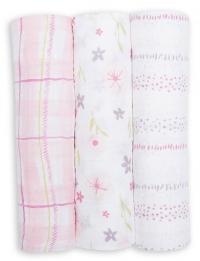 Lulujo Muslin Mulltuch 3er Pack - Pink Floral