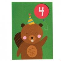 Rex London Geburtstagskarte, Biber 4. Geburtstag