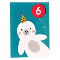 Rex London Geburtstagskarte, Seehund 6. Geburtstag