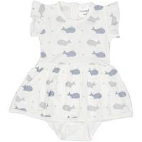 Geggamoja Baby Body-Dress aus Baumbus, Walfisch