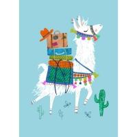 Geburtstagskarte Lama Blau