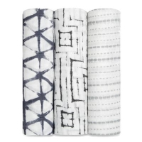 Aden Anais Silky Soft Swaddles, 3er-Pack - Pebble Shibori