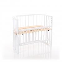babybay Comfort Beistellbett, weiß lackiert mit Liegefläche aus Zirbelkiefer