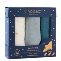 Nobodinoz Muslin Mulltuch 3er Pack - Night Blue