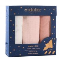 Nobodinoz Muslin Mulltuch 3er Pack - Bloom Pink