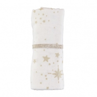 Nobodinoz Baby Love Swaddle, 70x70 - Gold Stella/ Natural