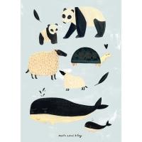 Petit Monkey Poster, schwarz-weiss/ Tiere Grau