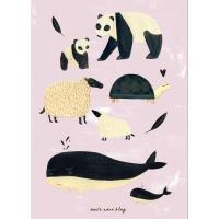 Petit Monkey Poster, schwarz-weisse Tiere/ rosa