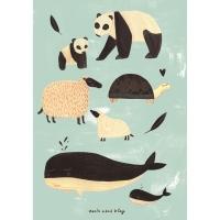 Petit Monkey Poster, schwarz-weisse Tiere/ mint