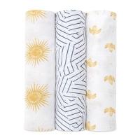 Aden Anais Silky Soft Swaddles, 3er-Pack - Golden Sun