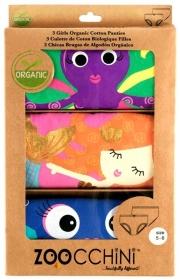 ZOOCCHINI Unterhosen 3er Set Girls aus Bio-Baumwolle - Coral Caribe (4-5 Jahre)