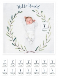lulujo Babys First Year Swaddle-Blanket & Karten Set, Hello World