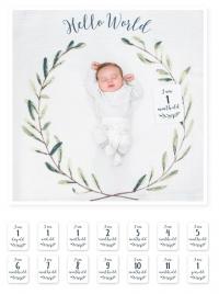 lulujo Babys First Year Swaddle-Blanket & Karten Set, Hello World