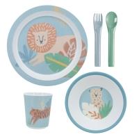 Sebra Geschirr-Set, Wildtiere, eucalyptus blau