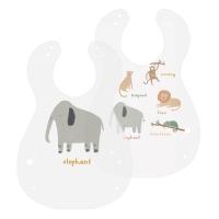 Sebra Kunststoff Lätzchen, 2er Pack, Wildlife