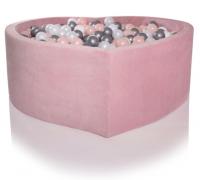 Kidkii Bällebad Herz, Baby Pink Velour (inkl. 200 Bälle, weiss)