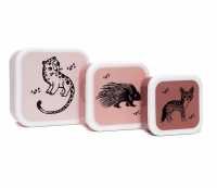 Petit Monkey Set 3 Snack-Dosen, Black Animals
