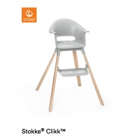 STOKKE Clikk Hochstuhl inkl. Sicherheitsgurt & Tray, Cloud Grey + Gratis Kissen