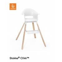 STOKKE Clikk Hochstuhl inkl. Sicherheitsgurt & Tray, Weiss + Gratis Kissen