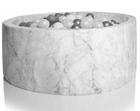 Kidkii Bällebad Rund 100 x 30 cm, Velours Marmor (mit 250 grau/weissen Bällen)