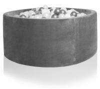 Kidkii Bällebad Rund 100 x 30 cm, Velours Grau (mit 250 grau/weissen Bällen)