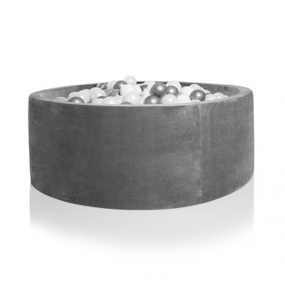 Kidkii Bällebad Rund 90 x 40 cm, Grau Velours (mit 200 Pearl Weiss und Silber Bällen)