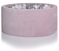 Kidkii Bällebad Rund 100 x 30 cm, Velours Baby Pink (mit 250 grau/weissen Bällen)