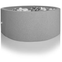 Kidkii Bällebad Rund 115 x 30 cm, Hellgrau (mit 350 grau/weissen Bällen)
