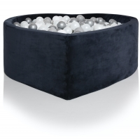 Kidkii Bällebad Herz, Blau Velour (inkl. 200 Bälle, weiss)