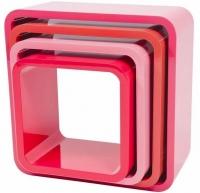 Sebra Cube Regale, 4er Set, Quadratisch, Himbeer