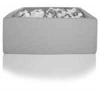 Kidkii Bällebad Eckig 90 x 90 x 40 cm, Hellgrau (mit 200 grau/weissen Bällen)