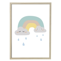 Bloomingville Poster mit Rahmen, Wolken