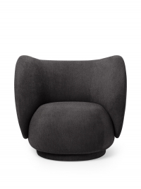 Ferm Living Rico Lounge Chair - Bouclé, Dark Grey